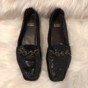 Stuart Weitzman Snakeskin Jewelled Loafers Size 8